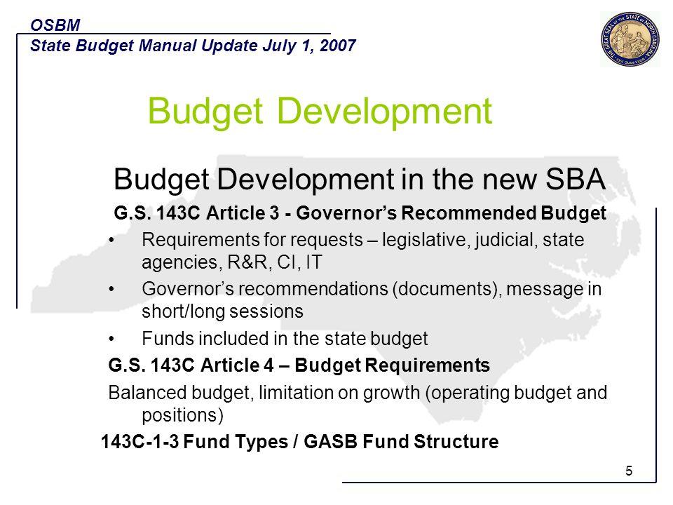 Budget Development Budget Development in the new SBA