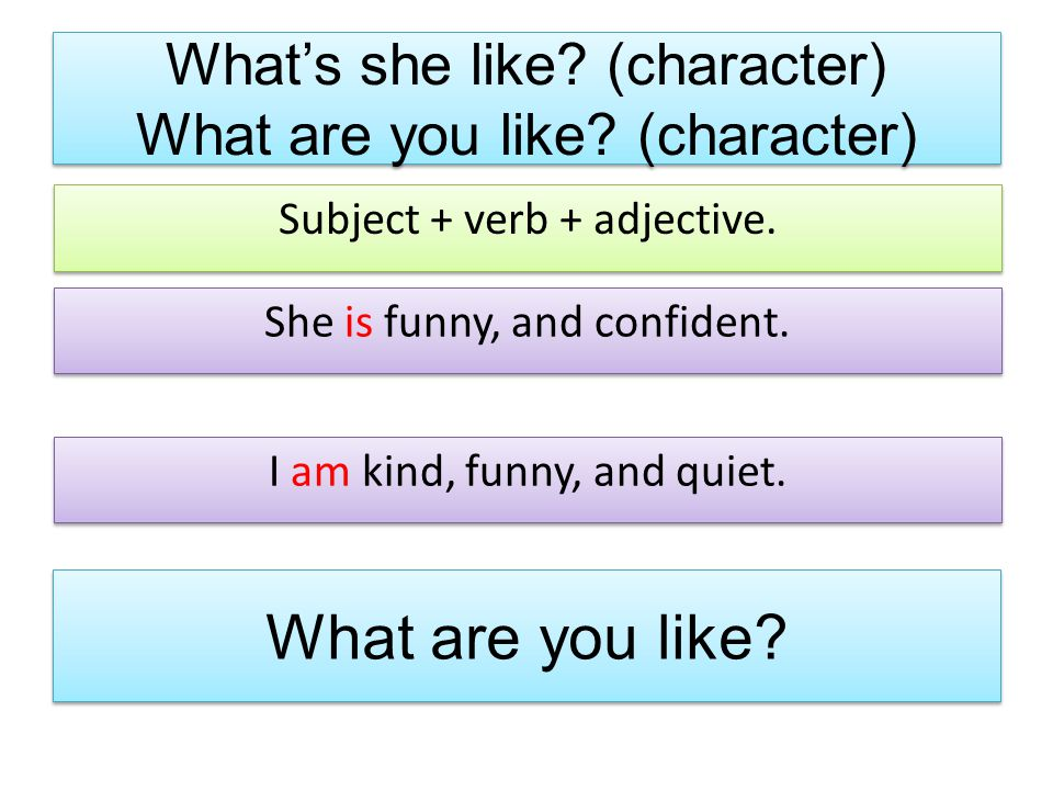 What's she like (character) What are you like (character)