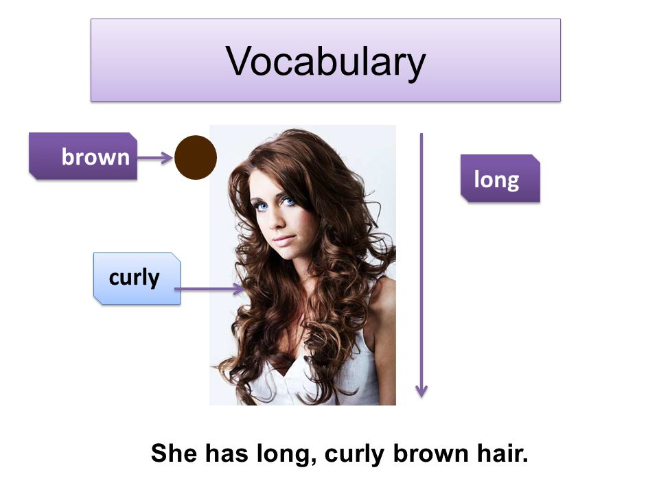 She has long, curly brown hair.