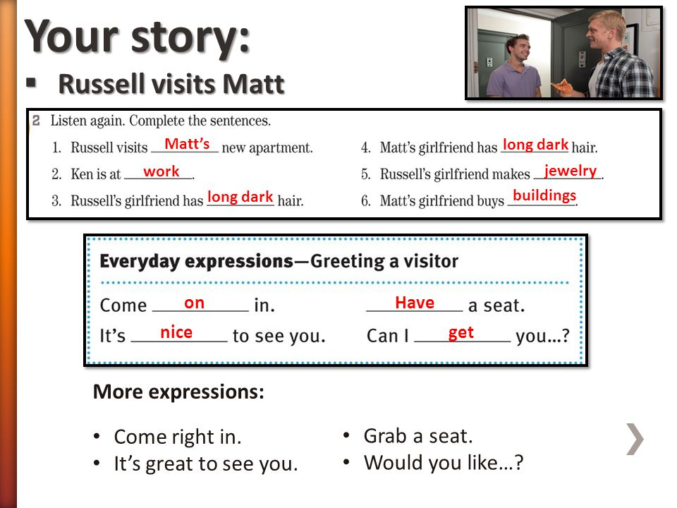 Your story: Russell visits Matt More expressions: Come right in.