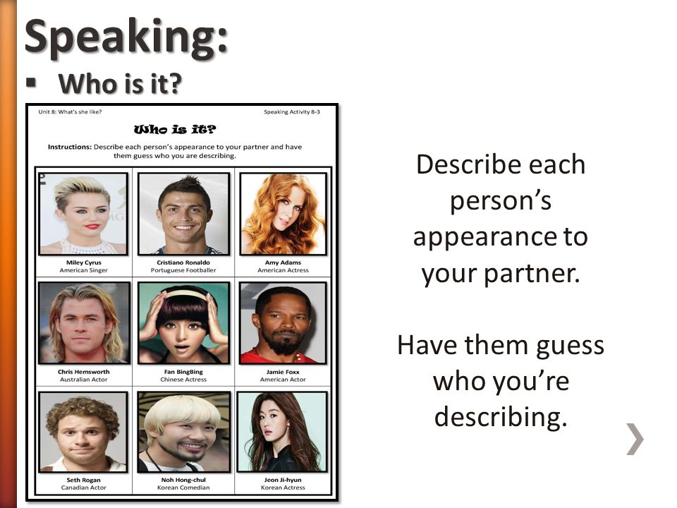 Speaking: Who is it. Describe each person's appearance to your partner.