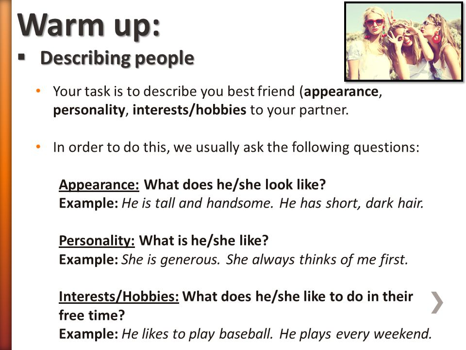 Warm up: Describing people