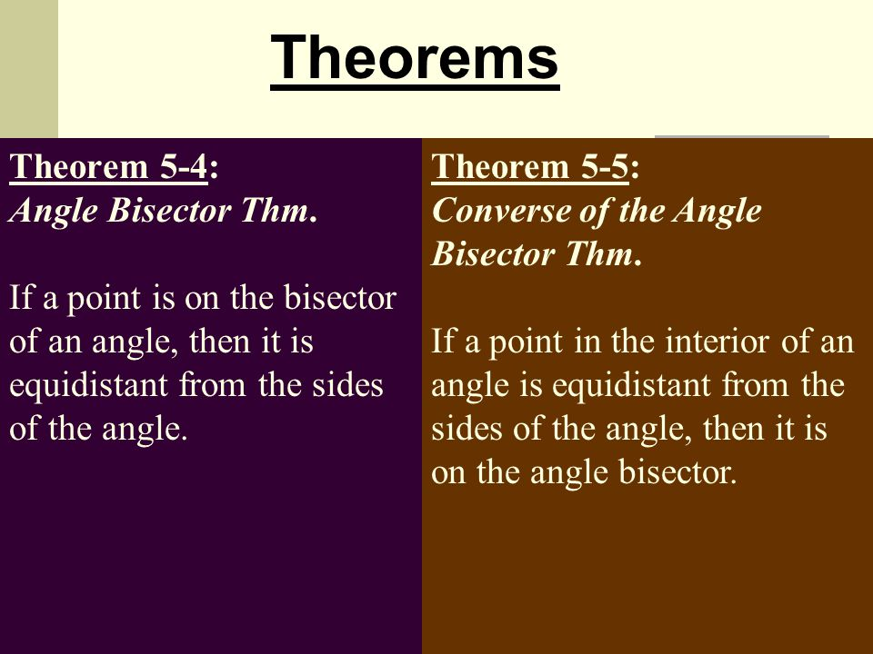 Theorems Theorem 5-4: Angle Bisector Thm. If a point is on the bisector of an angle, then it is equidistant from the sides of the angle.
