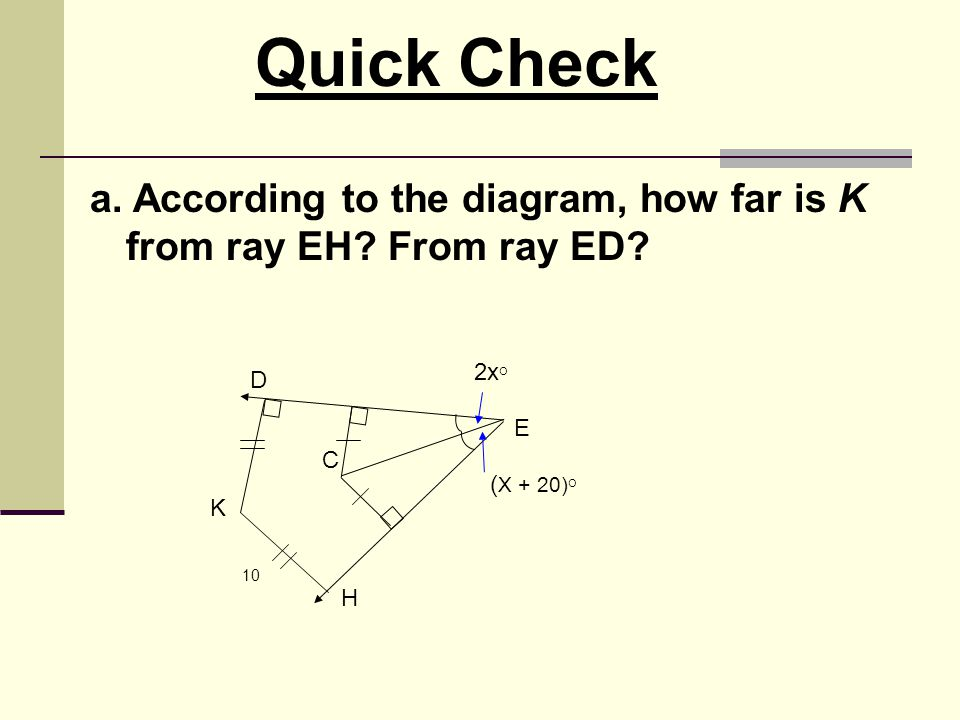 Quick Check a. According to the diagram, how far is K from ray EH From ray ED 2xO. D. E. C. (X + 20)O.