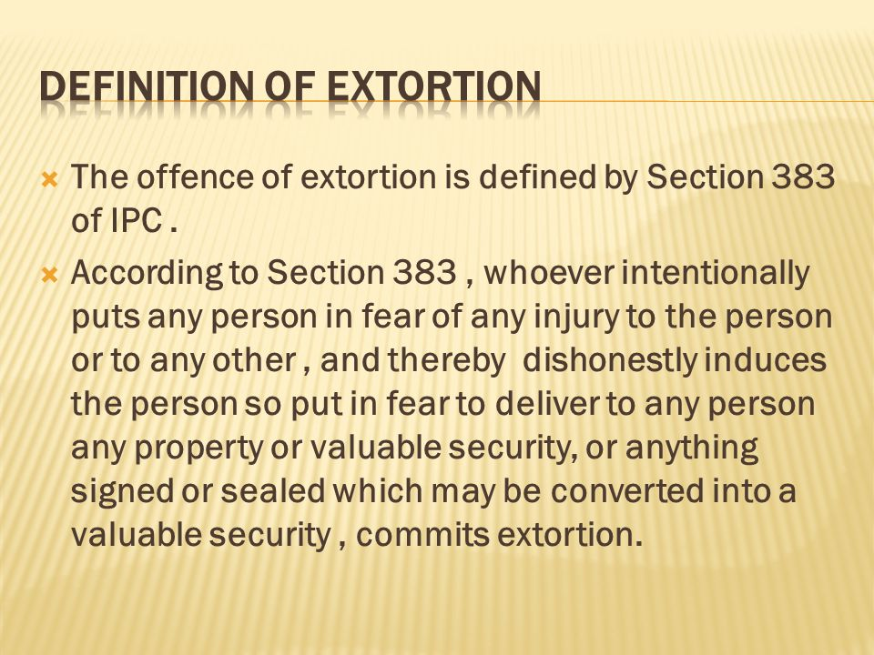 72 Definition Of Extortion