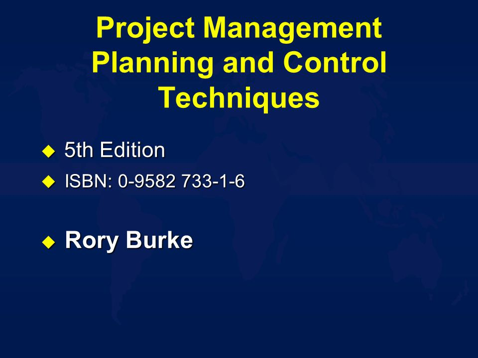 project planning and control techniques pdf