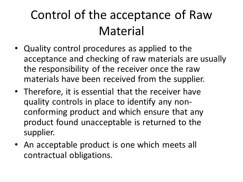Quality Control Procedures & Raw Materials - ppt video ...