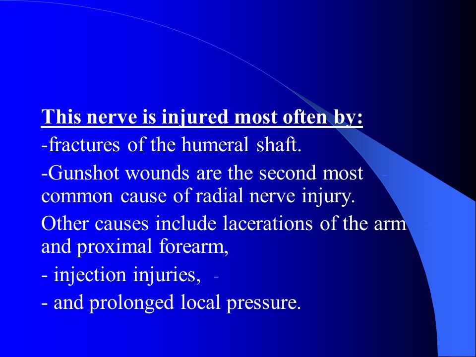 This nerve is injured most often by:
