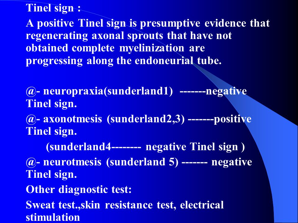 Tinel sign :