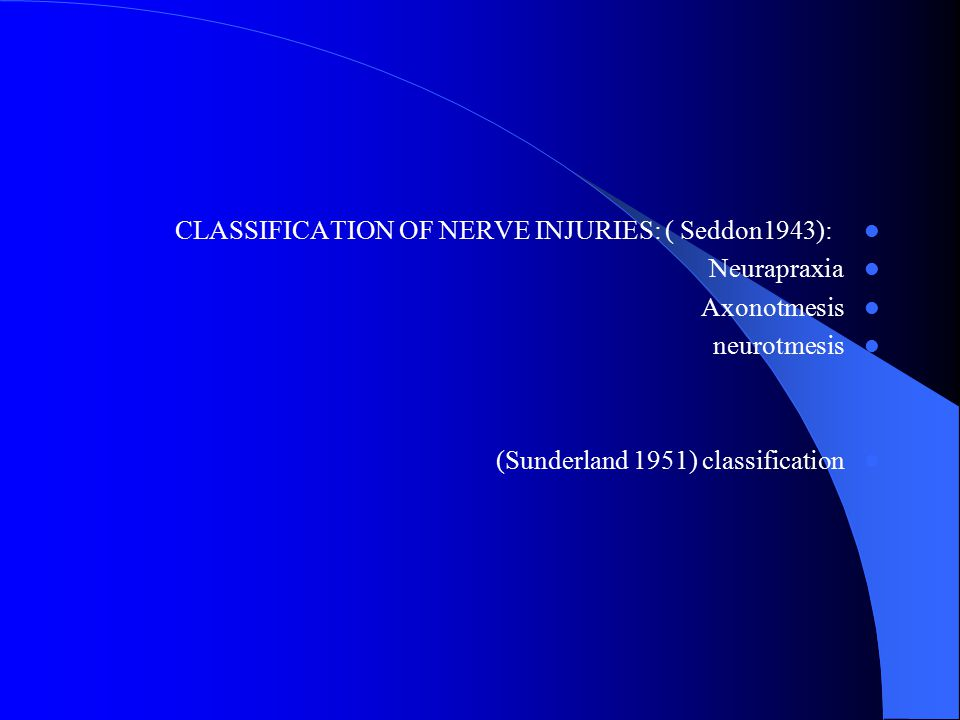 CLASSIFICATION OF NERVE INJURIES: ( Seddon1943):