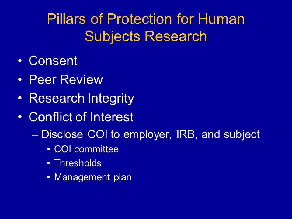 Pillars of Protection for Human Subjects Research