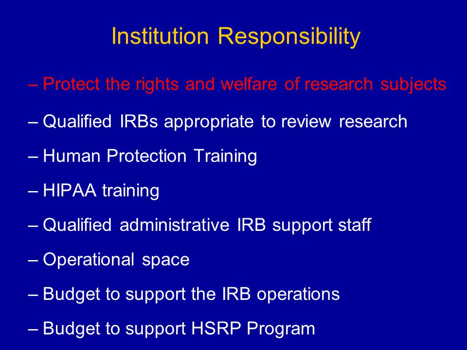 Institution Responsibility