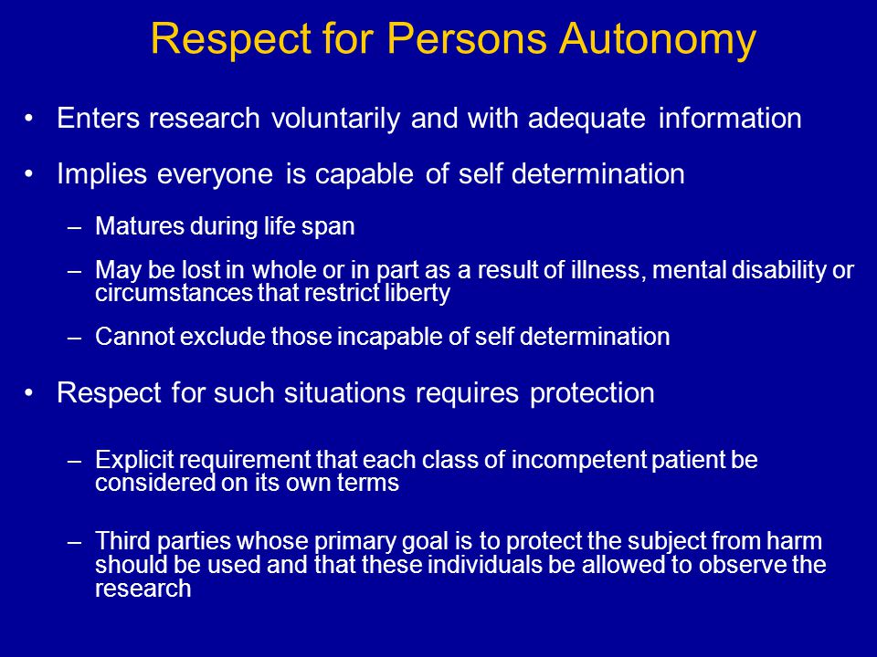 Respect for Persons Autonomy