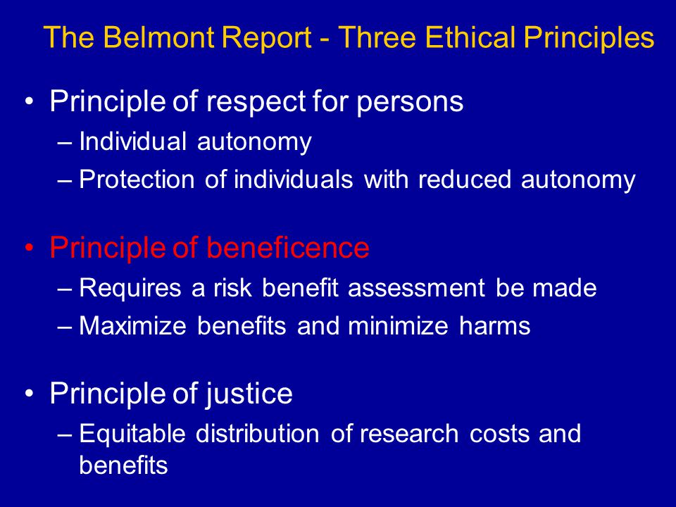 The Belmont Report - Three Ethical Principles