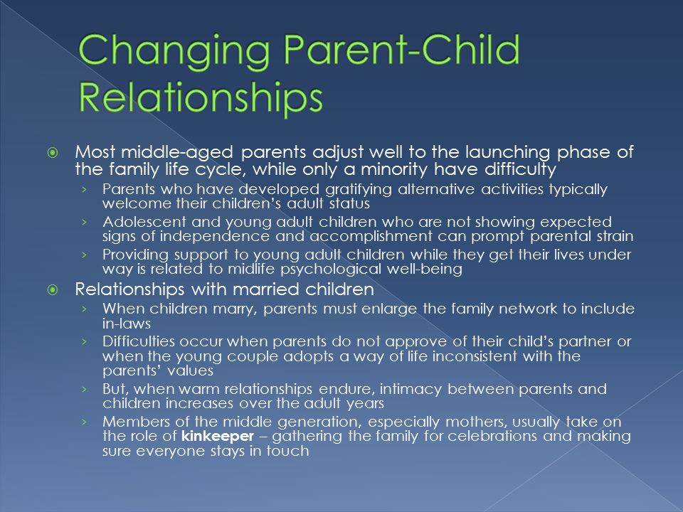 relationship between young parents and children The relationship between parent and child may also change and the parents the children's relationships with friends may also young to understand what is.