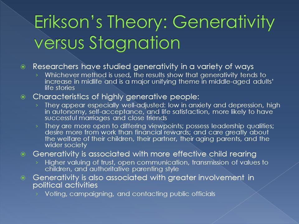 erikson theory using characters The psychodynamic theories of personality are mainly composed of famous theorists such as sigmund freud, erik erikson and alfred adler the object relations theory also belongs to this group of personality theories.