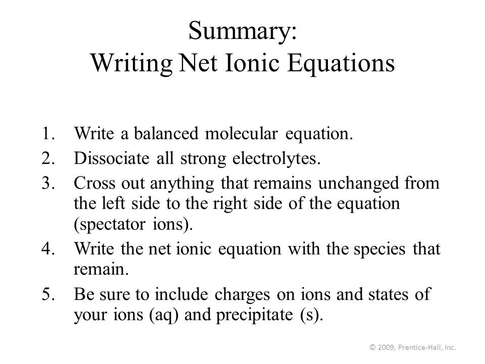 How do you write a net ionic equation