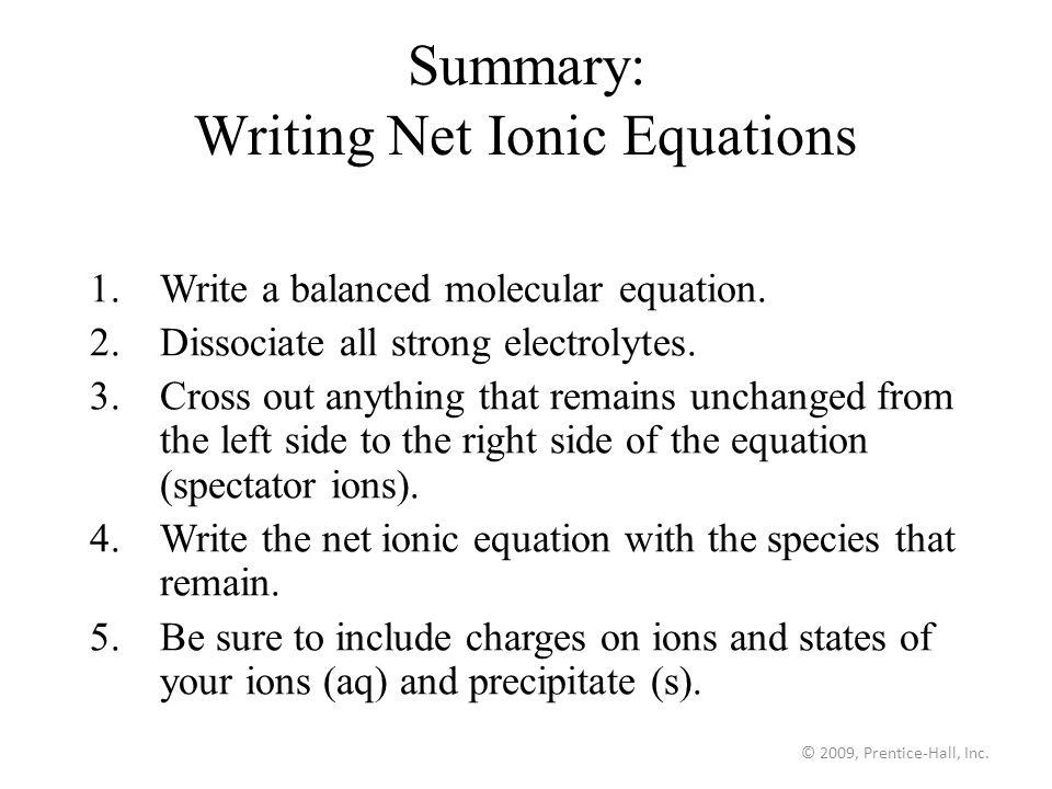 How do you write a net ionic equation