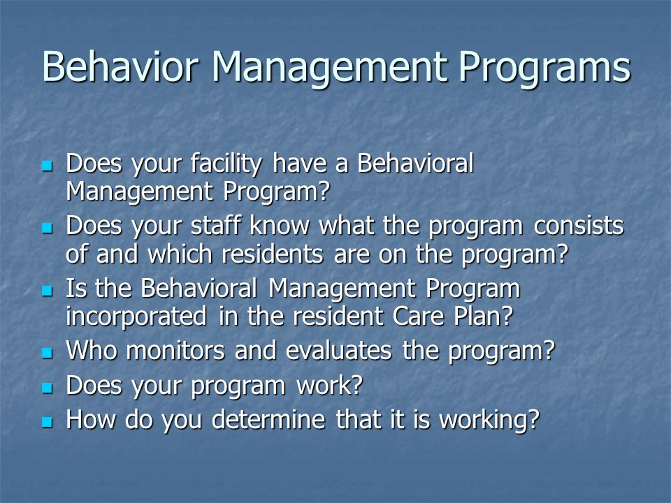 Behavior Management Programs