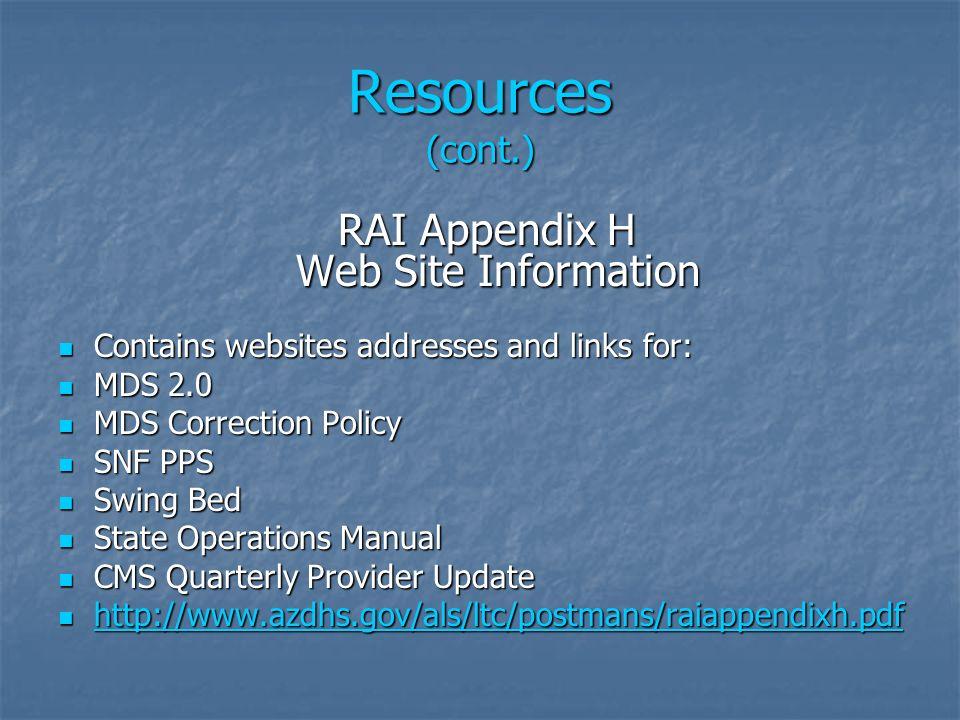 RAI Appendix H Web Site Information