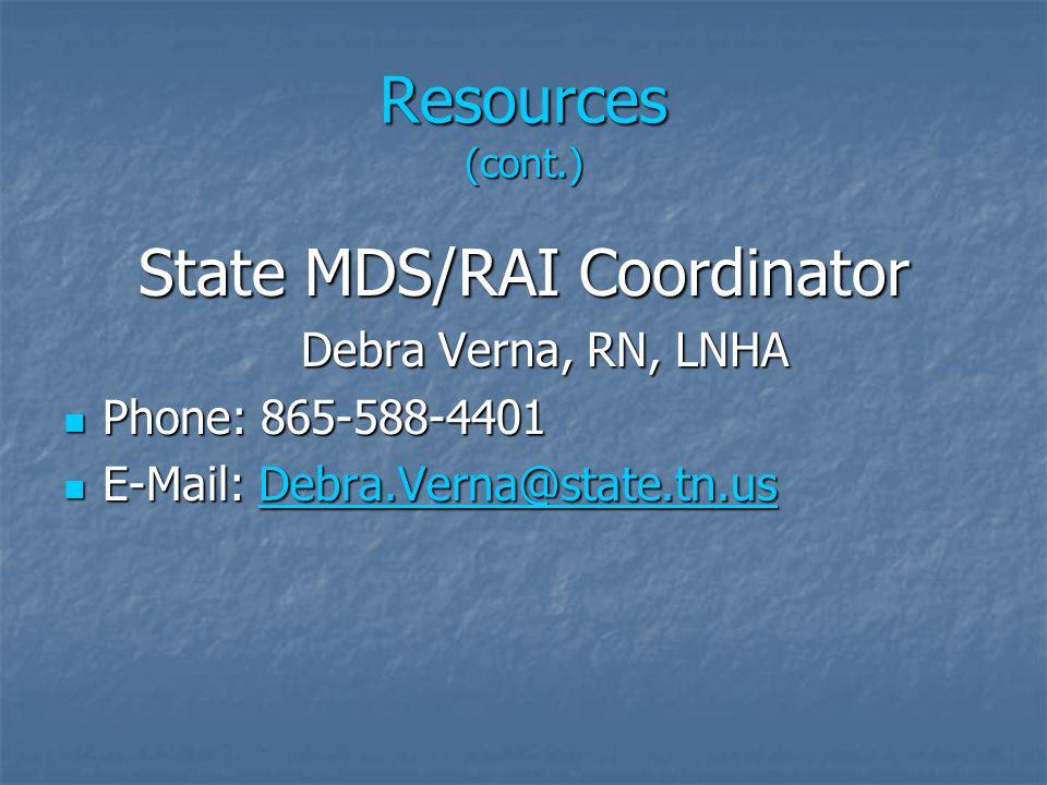 State MDS/RAI Coordinator