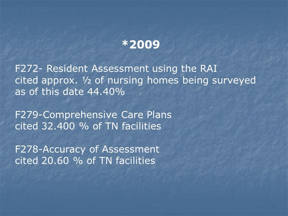 *2009F272- Resident Assessment using the RAI cited approx. ½ of nursing homes being surveyed.