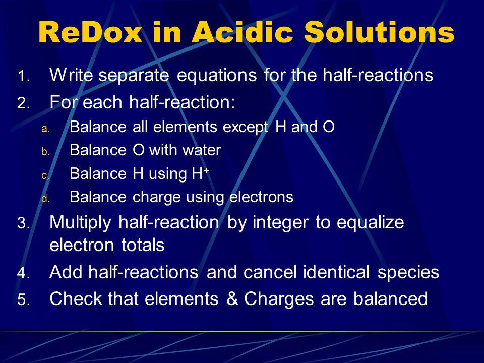 balancing redox reactions exercises pdf