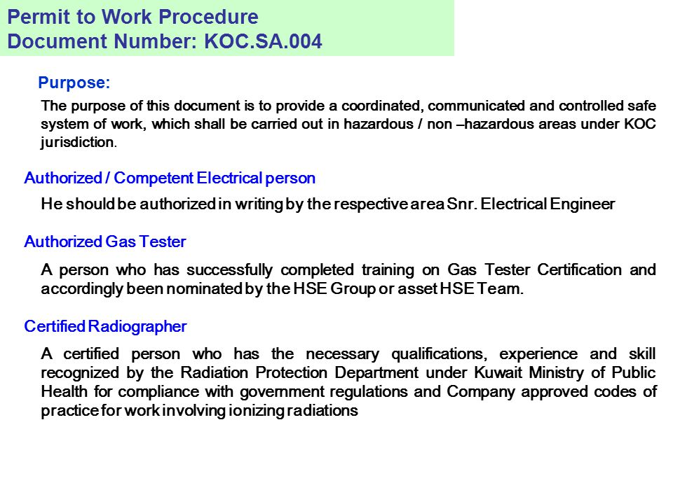 Permit to Work Procedure Document Number: KOC.SA.004