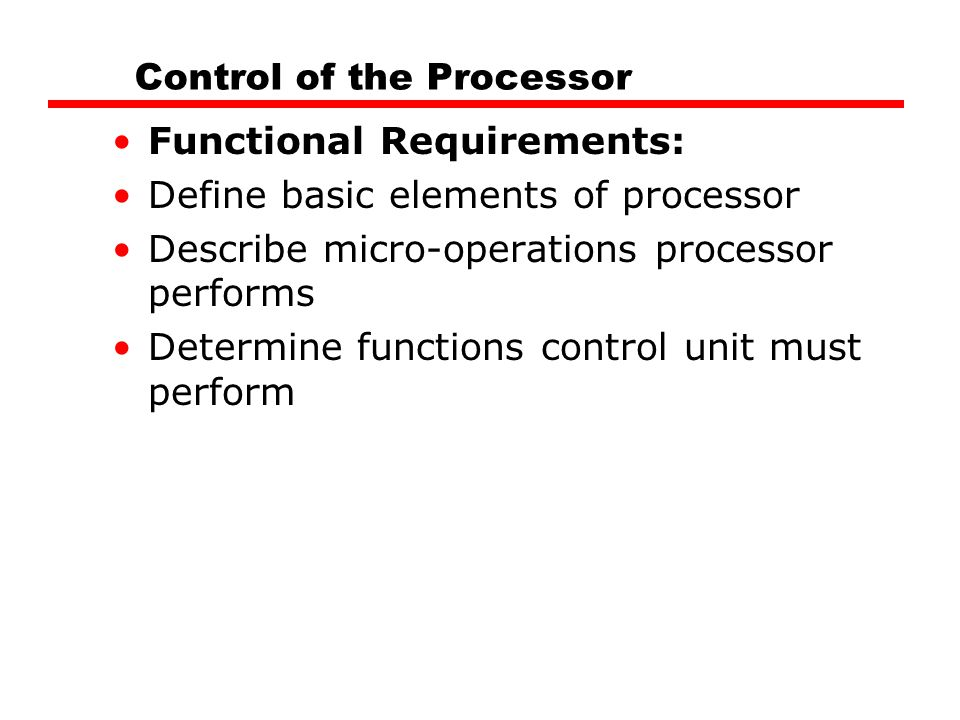 Control of the Processor