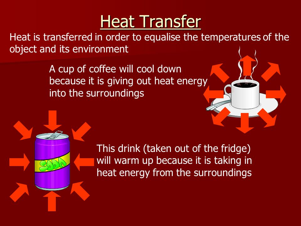 Heat Transfer Heat is transferred in order to equalise the temperatures of the object and its environment.