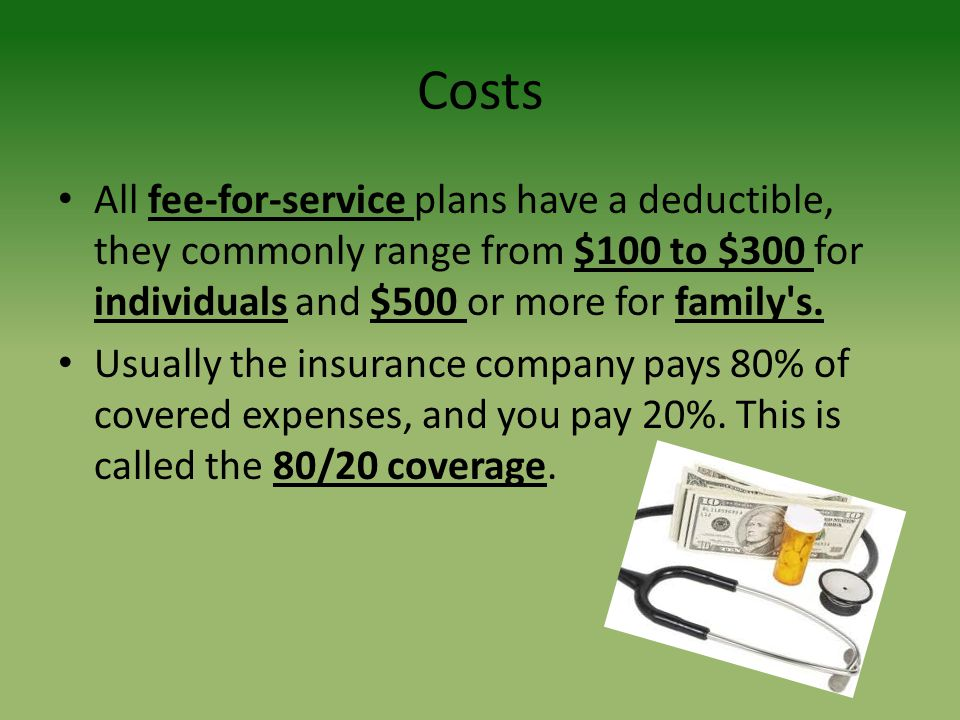 Costs All fee-for-service plans have a deductible, they commonly range from $100 to $300 for individuals and $500 or more for family s.