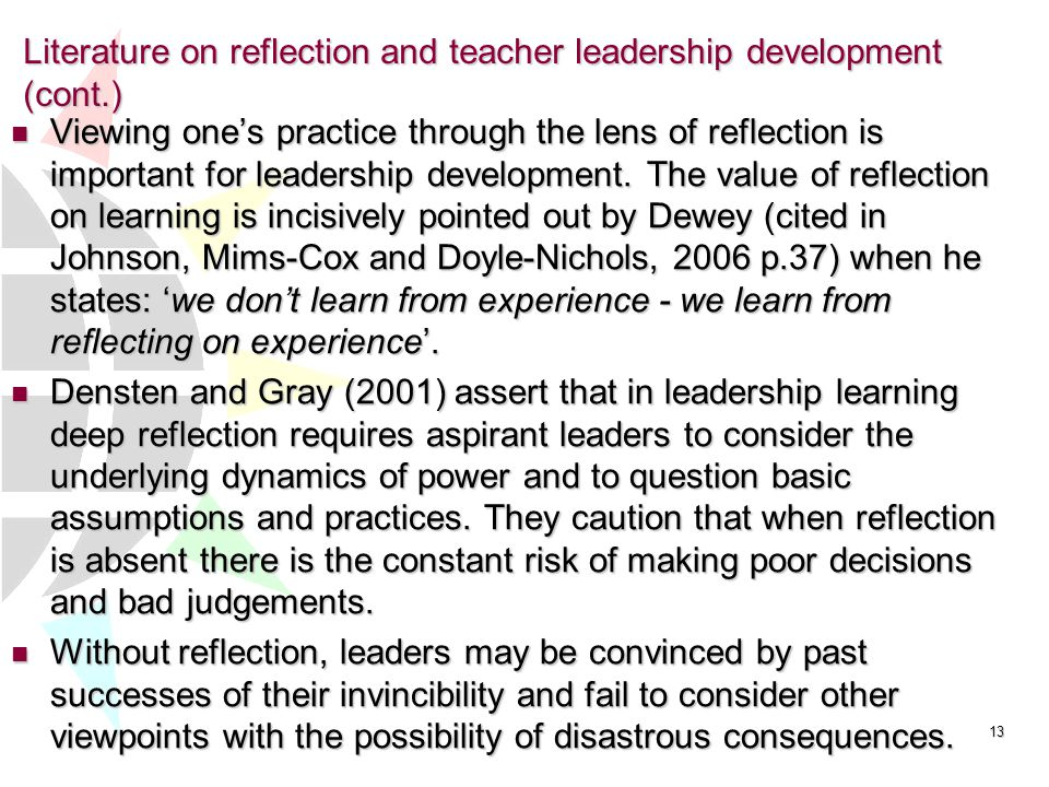authors reflection on their learning experiences Chapter 3 – students' experiences with collaborative learning in asynchronous   collaborative learning environment: the effect of reflection on group  author ) after three hours' training, a moderate inter-rater reliability was reached.