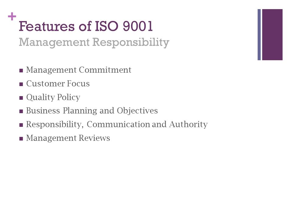 Features of ISO 9001 Management Responsibility