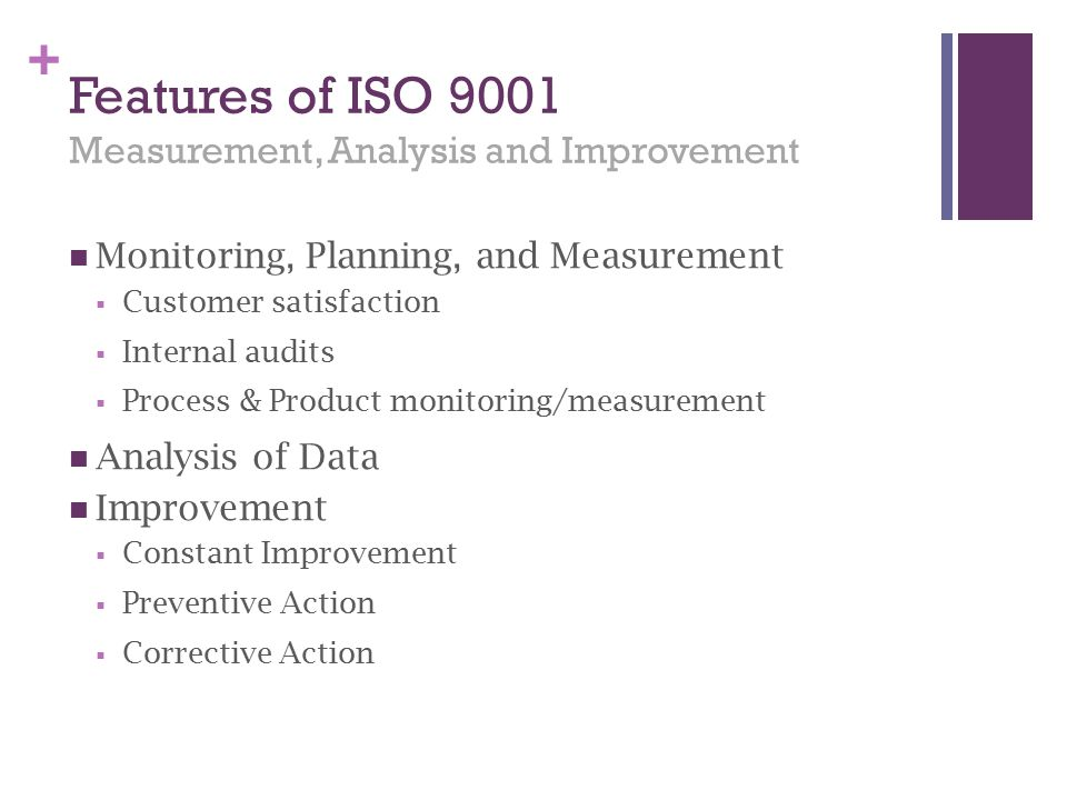 Features of ISO 9001 Measurement, Analysis and Improvement