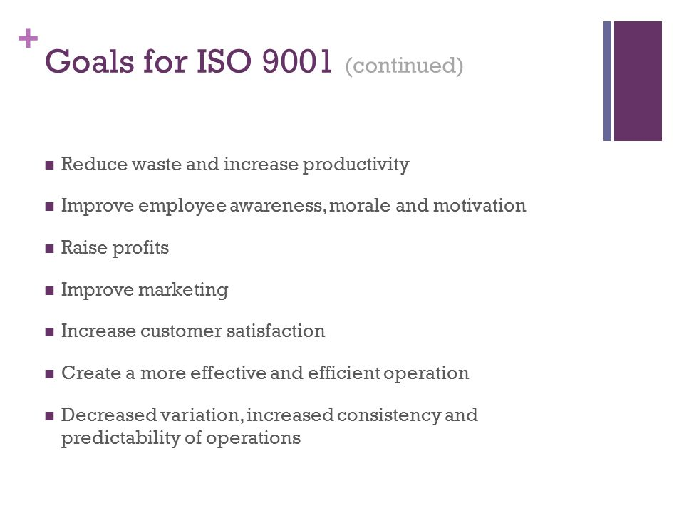 Goals for ISO 9001 (continued)