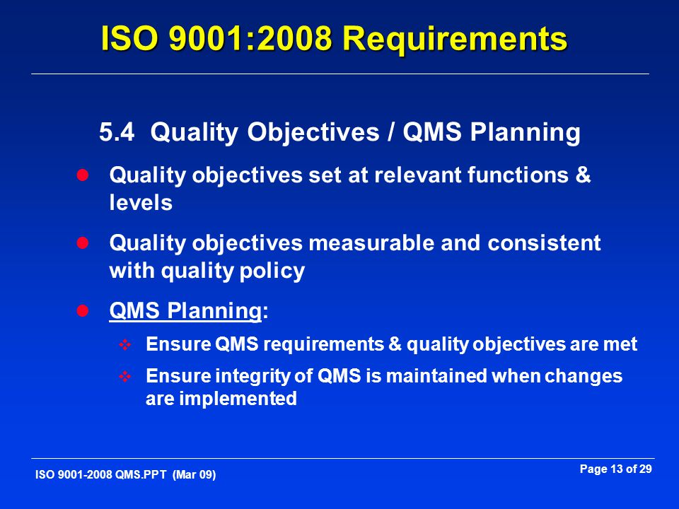 5.4 Quality Objectives / QMS Planning