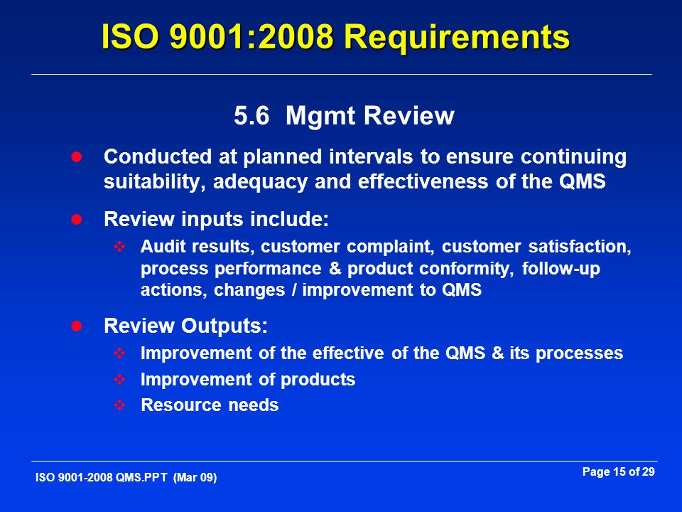 ISO 9001:2008 Requirements 5.6 Mgmt Review