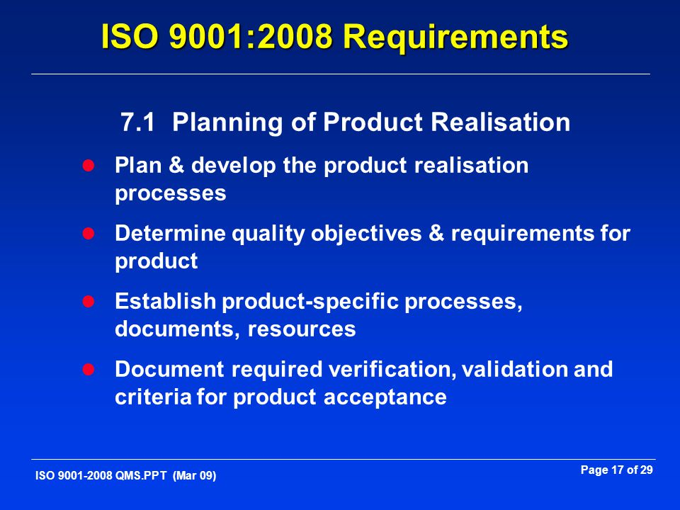 7.1 Planning of Product Realisation