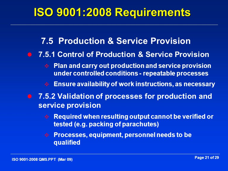 7.5 Production & Service Provision