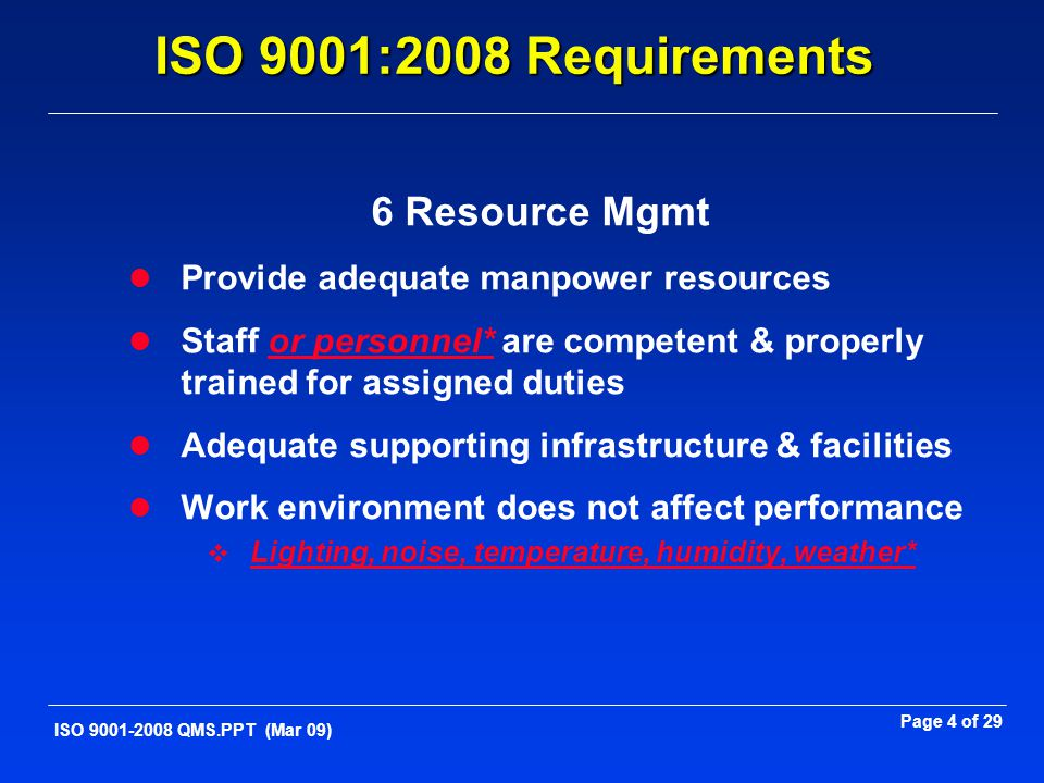 ISO 9001:2008 Requirements 6 Resource Mgmt