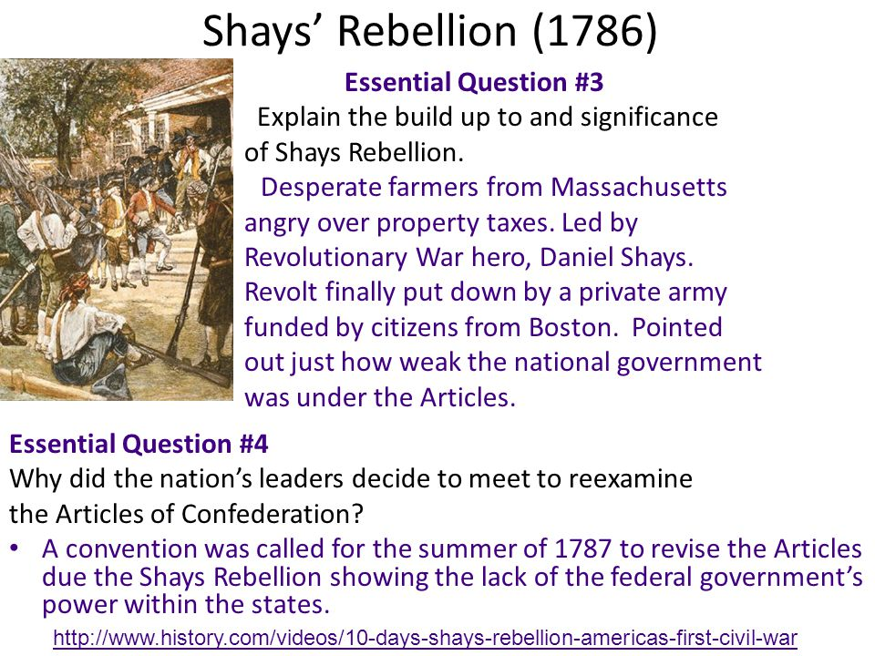 causes and consequences of shays rebellion in massachusetts in 1786 1787 essay