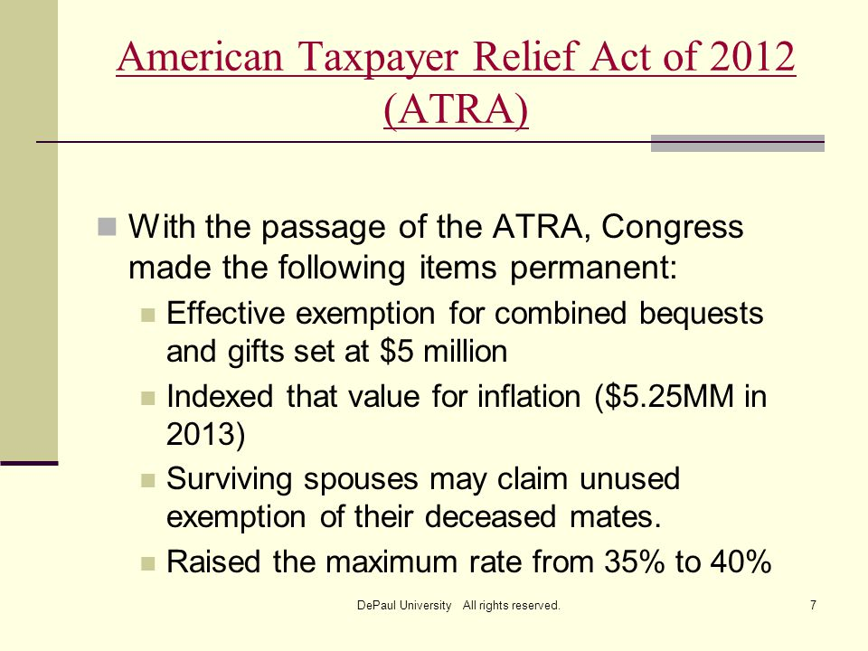 american tax payer relief act of On jan 1, 2013, the senate and then the house passed the american taxpayer relief act of 2012 (act) president obama signed the bill into law jan 2, 2013.