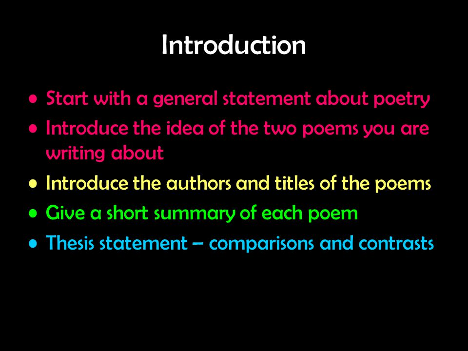 Introduction Start with a general statement about poetry