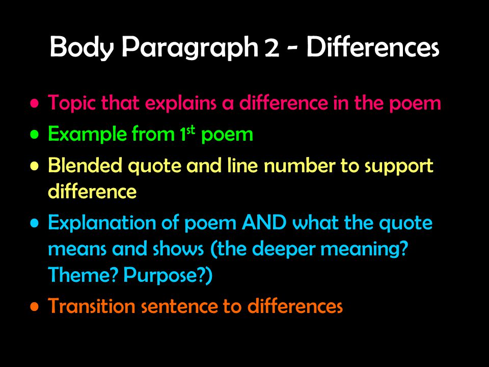 Body Paragraph 2 - Differences