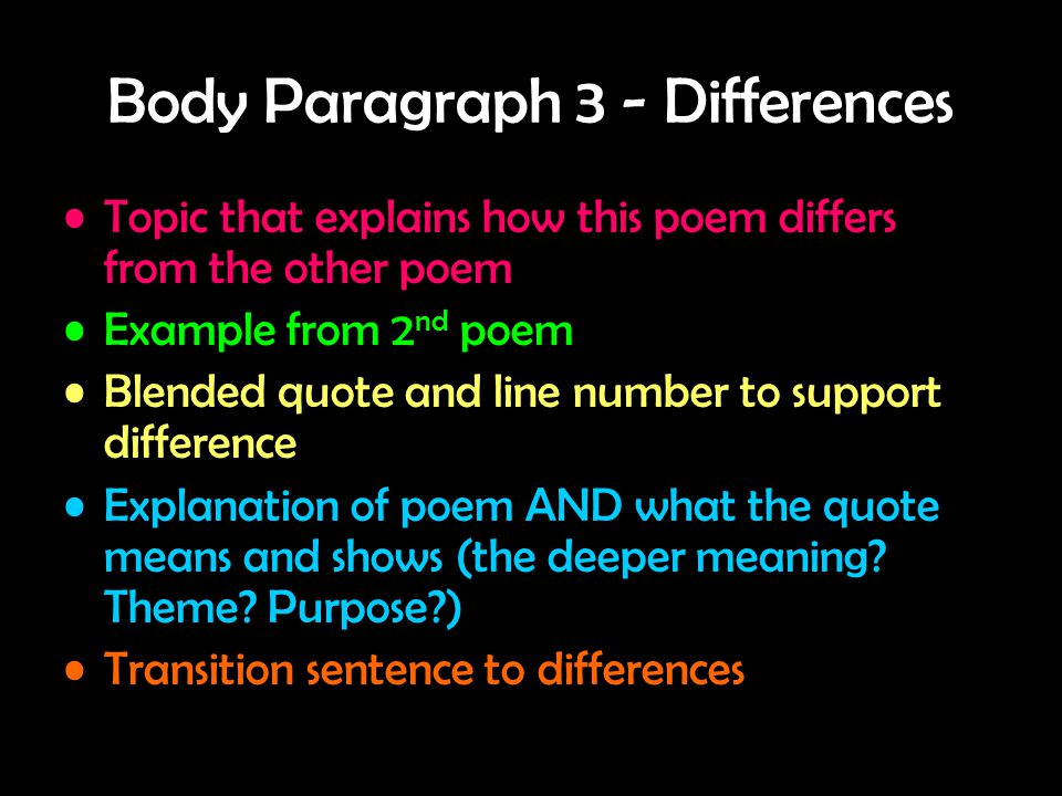 Body Paragraph 3 - Differences