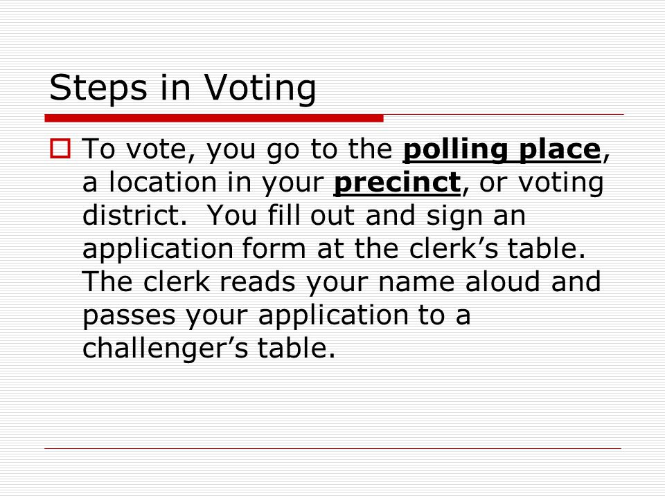 Steps in Voting