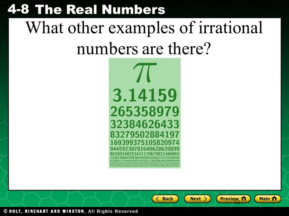 What other examples of irrational numbers are there