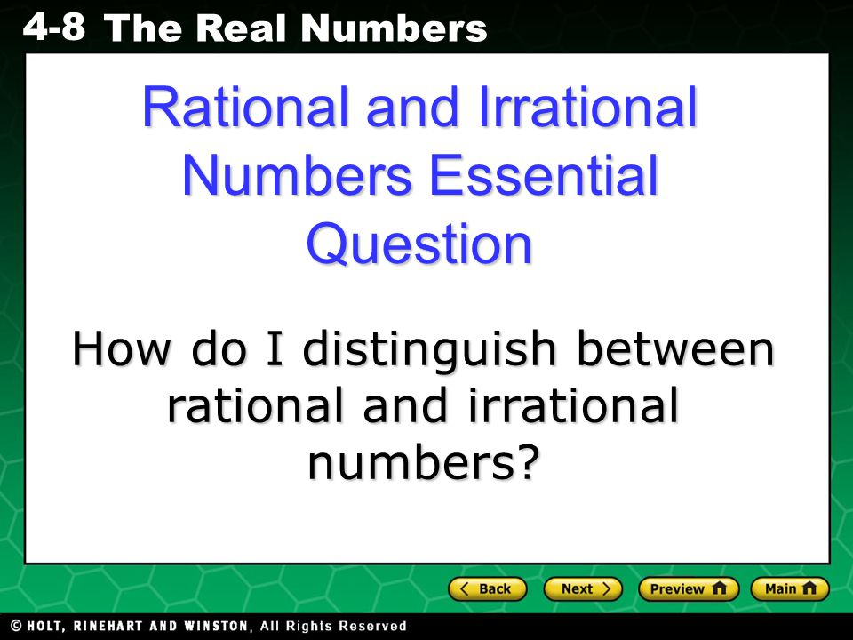 Rational and Irrational Numbers Essential Question