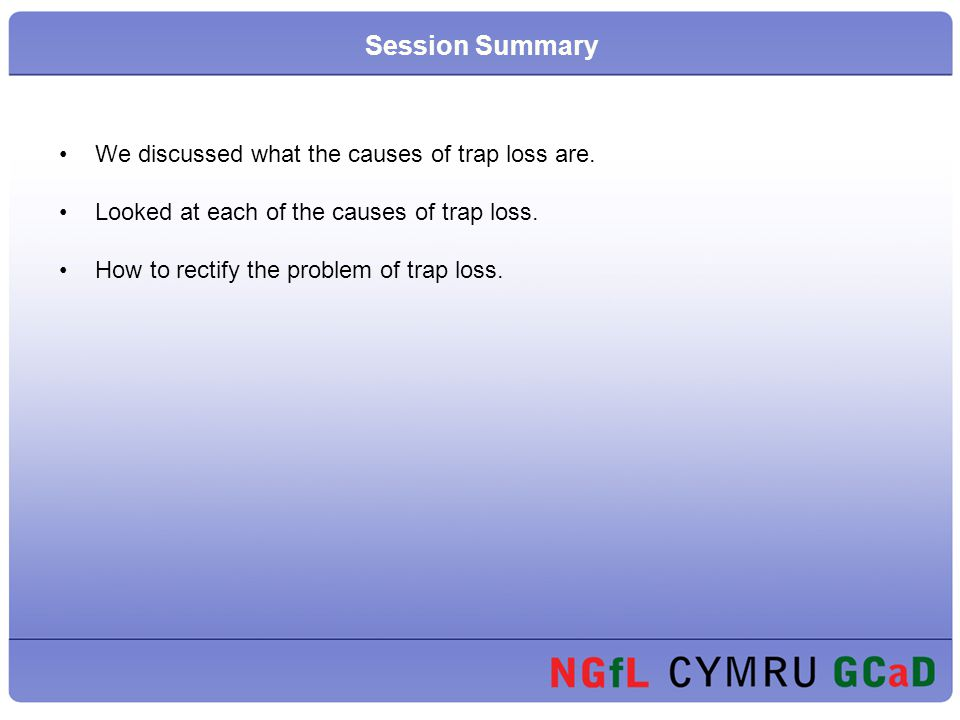 Session Summary We discussed what the causes of trap loss are.