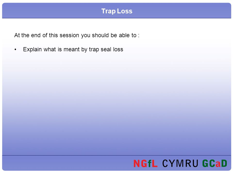 Trap Loss At the end of this session you should be able to :